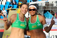 Italy's Viktoria Orsi Toth (left) and Marta Menegatti pose for a picture after a victory