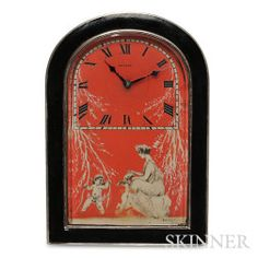 Art Deco Silver and Enamel Boudoir Timepiece, Retailed by Mappin & Webb