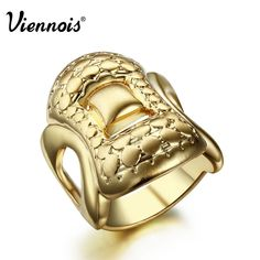 Viennois Vintage New Gold Plated Band Ring Jewelry for Women sz 7 8 #Viennois #Band