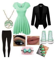 """""""Casual Green"""" by lunaterra ❤ liked on Polyvore featuring LE3NO, Dorothy Perkins, Converse and AeraVida"""