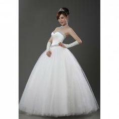 $97.09 Delicate Sequins Sweetheart Neck Design Shining Waist Floor Length Wedding Dress For Bride