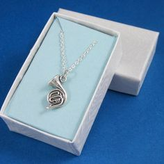 French horn charm necklace sterling silver chain gift boxed band music | Thesingingbeader - Jewelry on ArtFire
