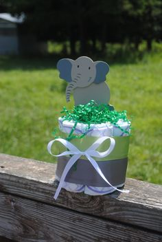 Small one layer Gray Elephant  Diaper Cake Gender Neutral Green and Grey - Baby Shower gift /Centerpiece on Etsy, $6.99