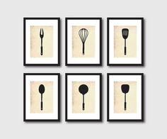 Kitchen Wall Art Set of Six 5 x 7 Kitchen by SusanNewberryDesigns, $55.00