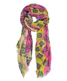 Look what I found on #zulily! Pink Floral Polka Dot Scarf by East Cloud #zulilyfinds