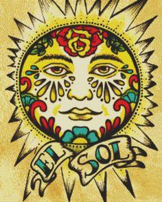 Modern Cross Stitch, El Sol, Illustrated Ink - Tattoo Art, Cross Stitch, Sun, Counted Cross Stitch , DMC Materials