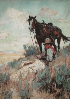 "1900's Philip R Goodwin, Cowboy, Horse, Western, - 20""x14"" Canvas Art"