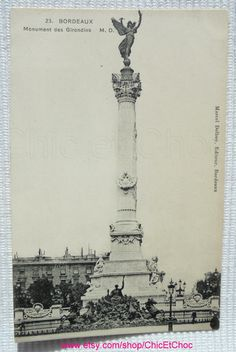 French Vintage Unused Postcard - 'Monument des Girondins', Bordeaux, France by ChicEtChoc on Etsy