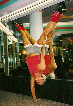 A senior citizen in trying to slow down his process of aging by physical fitness exercises