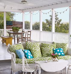 Dilapidated and down-and-out, a house on Tybee Island regains its soul after an ambitious redo reveals timeless seaside style. Green Furniture, Porch Furniture, Outdoor Furniture Sets, Outdoor Decor, Outdoor Rooms, Coastal Living, Coastal Decor, Courtyards