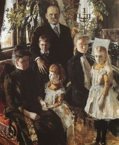 Akseli Gallen-Kallela aprilie 1865 - 7 martie pictor şi grafician finlandez - Portrait of Antti Ahlstrom and Family Finland Helene Schjerfbeck, Prinz Eugen, North Europe, Victorian Art, Woman Painting, Family Portraits, Dreaming Of You, Illustration, Artwork