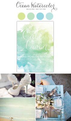 Ocean Watercolor Wedding Invitation Inspiration Board, Blue, Green, White, Watercolor, Beach Wedding, Summer Wedding, Calligraphy, Watercolor Invitation by Danielle Colosimo