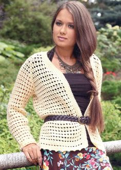 Crochet cardigan, the body is worked in one piece