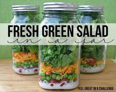 Fresh Green Salad in a jar myrecipemagic.com #recipe #health #salad