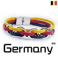 Soccer Nation GERMANY Genuine Leather Bracelet Stainless Steel                                                                                                                                                     Plus