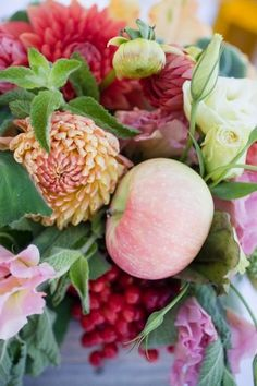 Centerpiece With Dahlias Tulips Berries and Apples