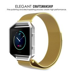 Fitbit Blaze Bands, Stainless Steel Band with Frame and Strong Magnet Clasp Watch Band for Fitbit Blaze Smart Fitness Watch - Gold