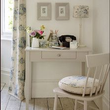 Perfect for household paperwork, a small desk painted to blend away into the wall is all you need.  Find all our home office furniture here: http://www.thedormyhouse.com/catalogue/home-office