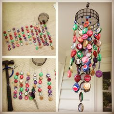 My bottle cap wind chime: bottle caps collected over my travels #bottlecap #windchime