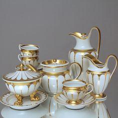 KPM Berlin um 1830 6 Ps. Kaffeeservice & Teeservice Campaner Form Klassizismus, Biedermeier, coffee set, tea set, tea pot, coffee pot, gold, 1800s