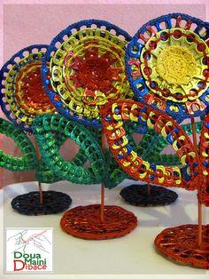 Crochet  flower from aluminum pull tabs