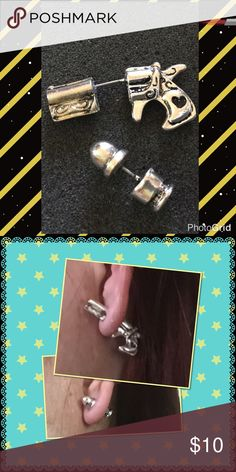 "LAST PAIR3D revolver gun/bullet shape earrings Brand new in package one gun one bullet material: metal size gun: 1/2"" x 1-1/4"" bullet: 3/4"" x 1/4"" Jewelry Earrings"