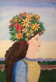 """painting by mexican artist Esau Andrade ( """" flora """" watercolor ) #Naive"""