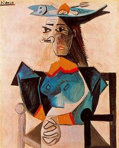 Seated Woman with Fish - Artist: Pablo Picasso Completion Date: 1942 Style: Surrealism Period: Neoclassicist & Surrealist Period Genre: portrait Technique: oil Material: canvas Dimensions: 100 x 81 cm Tags: fish, female-portraits Kunst Picasso, Art Picasso, Picasso Paintings, Paulo Picasso, Cubist Movement, Georges Braque, Oil Painting Reproductions, Oeuvre D'art, Spanish Painters