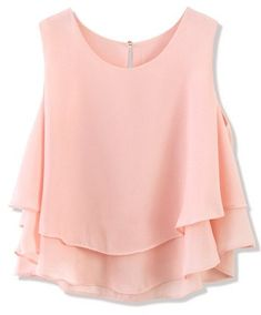 Layered Chiffon Crop Top in Pastel Pink - Retro, Indie and Unique Fashion Loose Fitting Tank Tops, Loose Crop Top, Pink Crop Top, Pink Tops, Loose Tops, Cut Loose, Look Fashion, Unique Fashion, Fashion Outfits