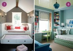 I love these ideas for guest rooms in small spaces. Contrast walls make for dynamic small spaces and both of these spare beds are so chic!