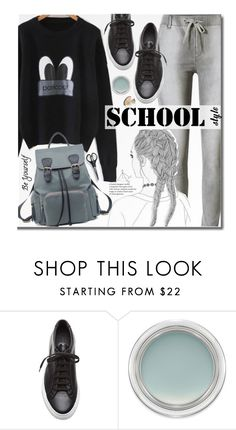 """School"" by beebeely-look ❤ liked on Polyvore featuring Common Projects, MAC Cosmetics, school, sneakers, schoolstyle, sammydress and backpacks"