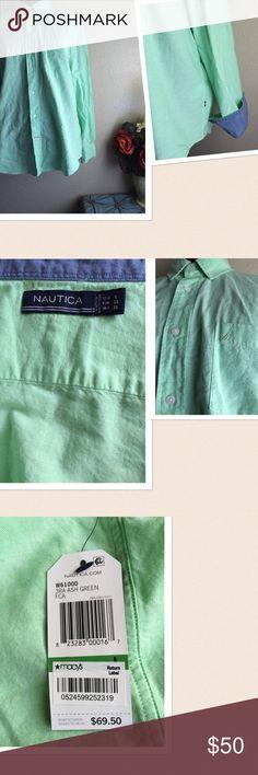 Nautica Button Down Shirt ❌❌No Offers❌❌Nautica Button Down Shirt. Denim color cuff design. Signature logo at the front. Size: Large. Color: Ash Green. New with tag. Nautica Shirts Casual Button Down Shirts