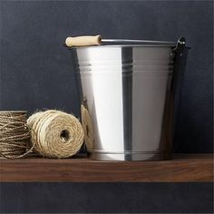 Stainless steel bucket with wooden handle/// $20
