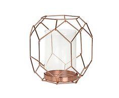 Portavelas de acero y cristal Geo, cobre - altura 16,5 cm