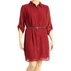 Alisha Chloe Plum Belted Shirt Dress (16 NZD) ❤ liked on Polyvore featuring plus size women's fashion, plus size clothing, plus size dresses, plus size, belted shirt dress, belted dress, red shirt dress and plus size red dress