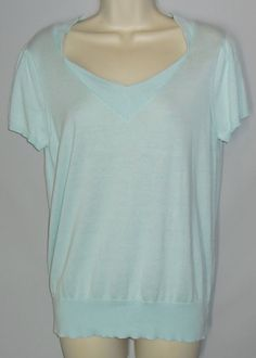 CHADWICKS COLLECTION L Large Light Blue Thin Knit Short Sleeve Sweater Cotton #Chadwicks #VNeck