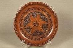 Vintage Wood Wooden Polish Floral Design Plate, Copper Inlay