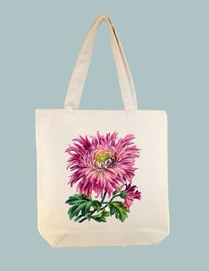 Vintage Pink Mum lllustration on 15x15 Canvas Tote with shoulder strap - larger zip top tote style and personalization available