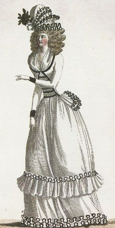 Journal de la Mode et du Gout, April 1790.  I love this trim!  It is so crazy!  Also, I'm not entirely sure how to classify that thing that is on her head.  Bonnet? Cap? Hat?