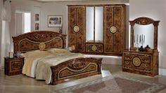 Luxury Bedroom Design, Bedroom Bed Design, Modern Master Bedroom, Bedroom Furniture Design, Bed Furniture, Italian Bedroom Sets, Classic Bedroom Furniture, Double Bed Designs, Wood Bed Design