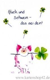 Kunst und Bild Glück und Schwein-das sei dein! -Klapp- Grußkarte von Helme Heine   Kartenshop42