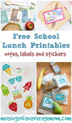 Free school lunch printables including labels, stickers and over 100 lunch notes