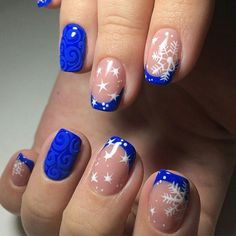 Blue French manicure, Blue nail art, Christmas manicure on short nails, December nails, Nail polish for blue dress, New year french nails 2017, Smart nails, Winter french nails 2016