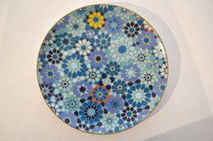 Coffret de 4 assiettes dessert bleu porcelaine moucharabieh, Images d'Orient