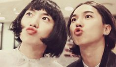 Kang Seungyoon and Song Minho as girls-the duck faces are perf><