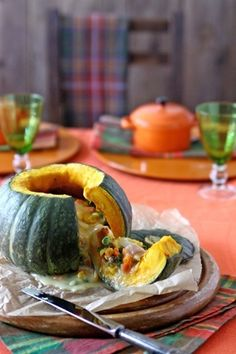 Turban Squash with pot pie mix inside. Cute, healthier that pie crust, and fun. Make with small varity and one per person.