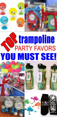 BEST trampoline party favors! Amazing trampoline party favor ideas you must see! Find trampoline party favors for kids birthday parties & more. Get fun gift bag ideas, easy goodie bags, cheap diy ideas and more. Cool party favors for kids, children, teens, tweens, & adults.  Boys and girls will love these trampoline birthday party favor ideas! Find the best trampoline favors now!