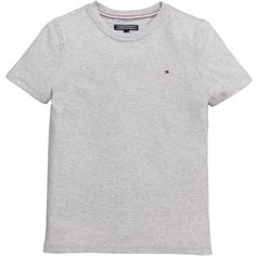 Tommy Hilfiger Ss Classic Tee Light Grey ($11) ❤ liked on Polyvore featuring tops, t-shirts, tommy hilfiger t shirts, tommy hilfiger, light grey t shirt and tommy hilfiger tops