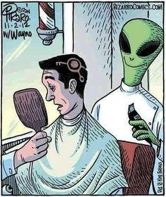 A little alien humor. Aliens And Ufos, Ancient Aliens, Goodfellas Barber Shop, Nba Haircuts, Bizarro Comic, Barber Logo, Barber Tattoo, Aliens Funny, Alien Art