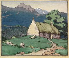 Norma Bassett Hall (American) 'A Highland Croft' ~ woodcut